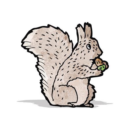 nibbling: cartoon squirrel nibbling nut Illustration