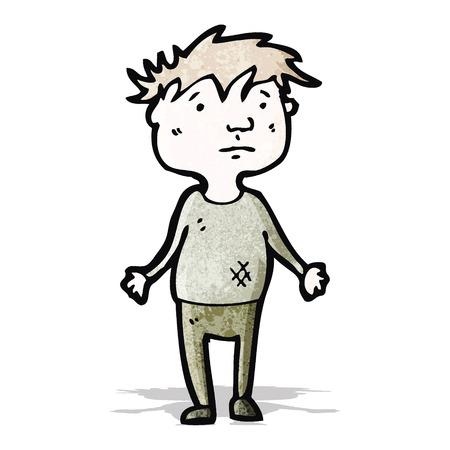 漫画貧しい少年  イラスト・ベクター素材