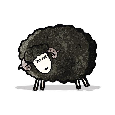 zwart schaap: cartoon zwarte schapen Stock Illustratie
