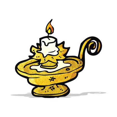 candle holder: old candle holder cartoon Illustration