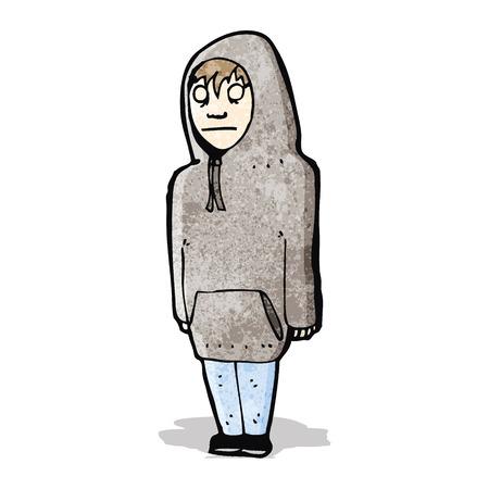 encapuchado: adolescente de dibujos animados en la sudadera con capucha