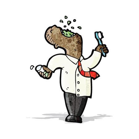 cartoon man gargling mouthwash Stock Vector - 32411813
