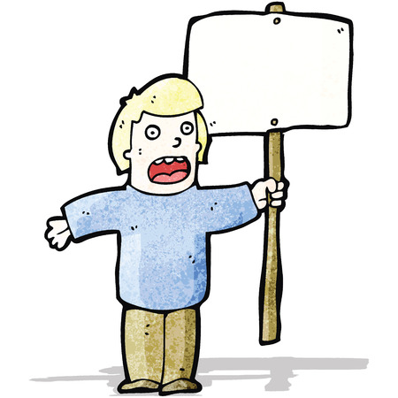 protester: cartoon protester with sign