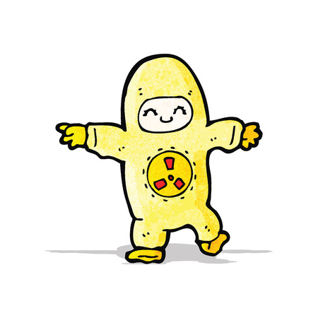 radiation suit: cartoon man in radiation suit Illustration