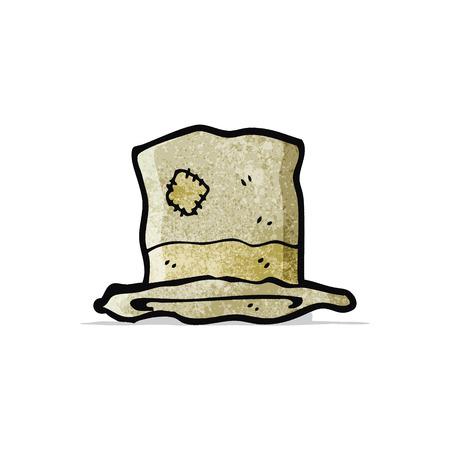 battered: cartoon old battered top hat Illustration
