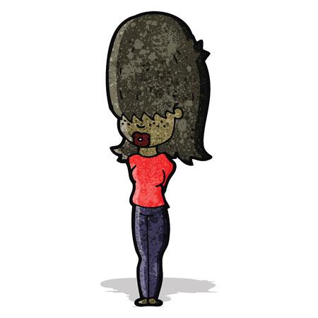 crazy hair: cartoon teen girl with big hair Illustration