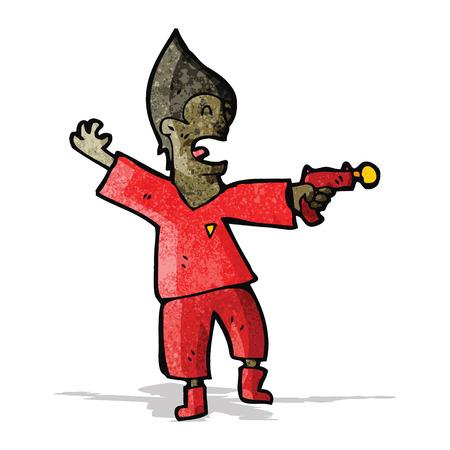 raygun: cartoon future man with raygun Illustration