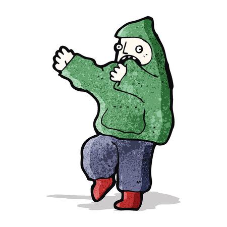 encapuchado: muchacho de la historieta en la parte superior con capucha Vectores