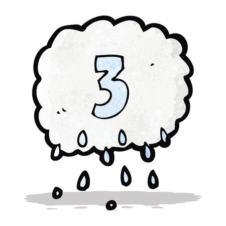 doodle art clipart: cartoon rain cloud with number three Illustration
