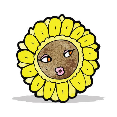 cartoon pretty sunflower face Vector