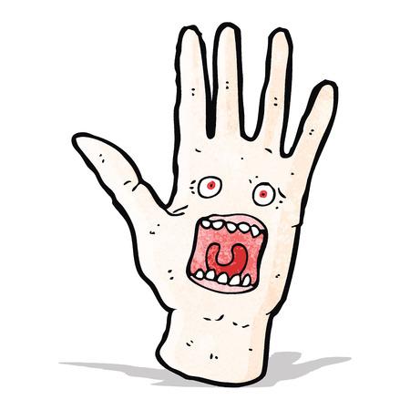 mano cartoon: urla spaventoso mano cartone animato