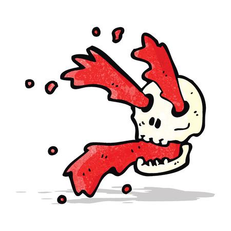 eye sockets: gross blood squirting skull cartoon