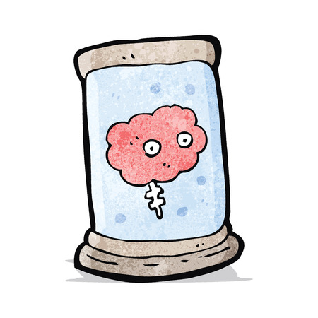 cartoon brain in jar Vector