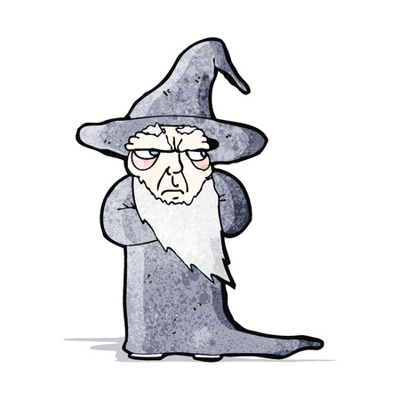 grumpy: cartoon grumpy old wizard