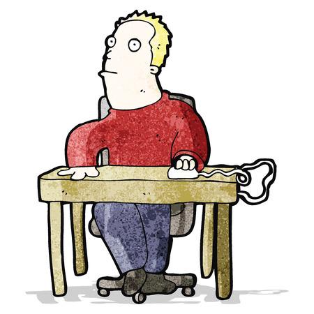 bored man: cartoon bored man working at desk