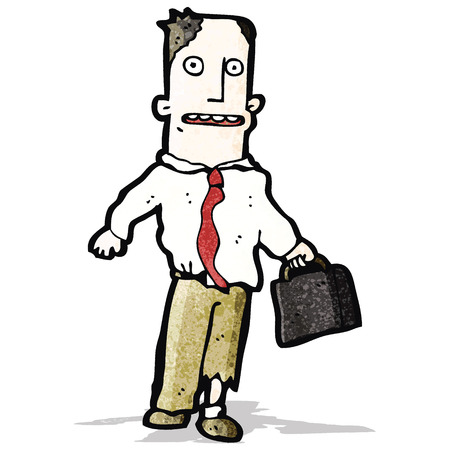 tearing down: cartoon businessman in torn clothing