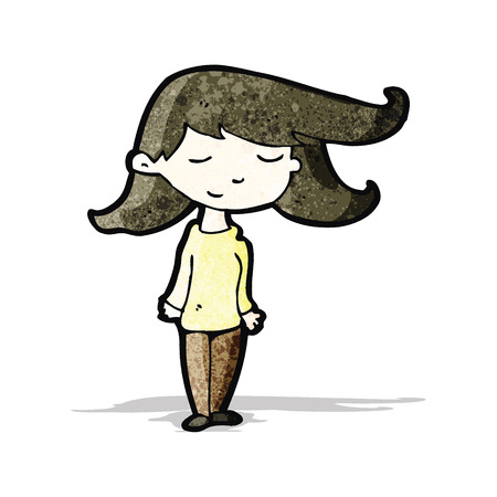 crazy hair: cartoon girl with hair blowing in wind Illustration