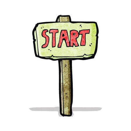 d�part course: bande dessin�e signe d�part de la course Illustration