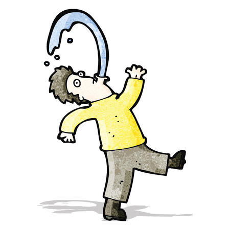 spitting: cartoon man spitting water Illustration