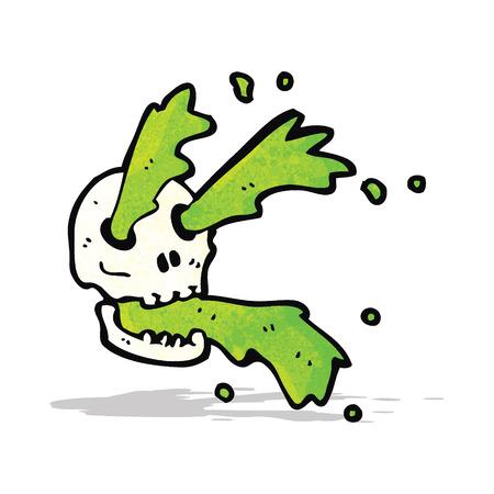 slime: cartoon spurting slime skull Illustration