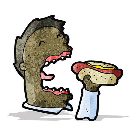 漫画男食べるホットドッグ