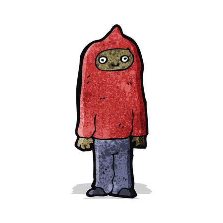 hooded: cartoon man wearing hooded top