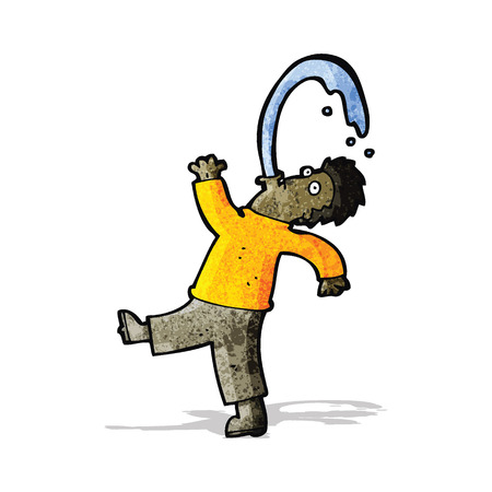 spitting: cartoon man spitting water Illustration