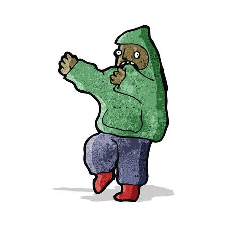 encapuchado: muchacho de la historieta en el baile top con capucha Vectores