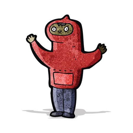 encapuchado: muchacho de la historieta en la sudadera con capucha