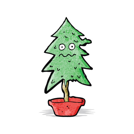 ragged: cartoon ragged old christmas tree
