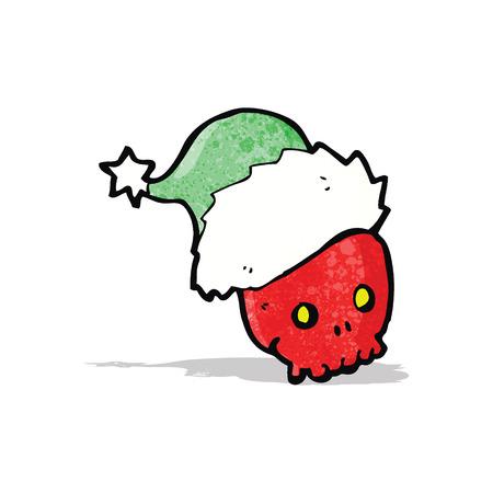 calavera caricatura: cr�neo de la historieta en sombrero de la Navidad