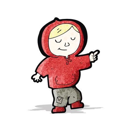 encapuchado: muchacho de la historieta en el baile sudadera con capucha Vectores