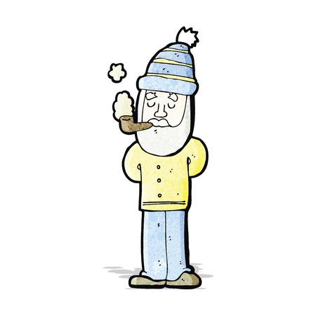 pipe smoking: Cartoon-Mann Pfeife