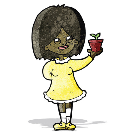 proud: cartoon proud woman with plant Illustration