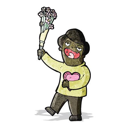 hombre romantico: dibujos animados hombre rom�ntico con flores Vectores