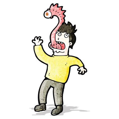 cartoon man with alien parasite Vector