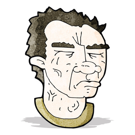 wrinkled face: cartoon frowning man