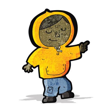 hooded: cartoon boy in hooded top pointing