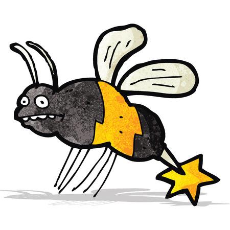 stinging: cartoon stinging wasp Illustration