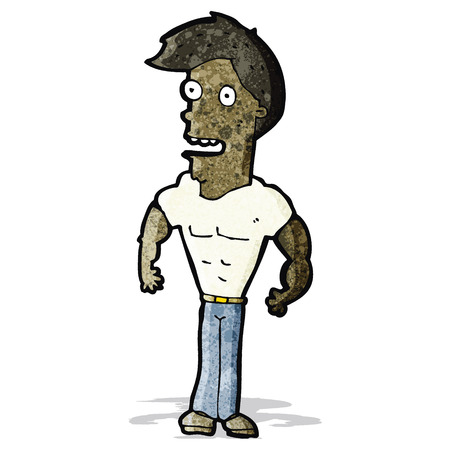 muscular: cartoon proud muscular man Illustration