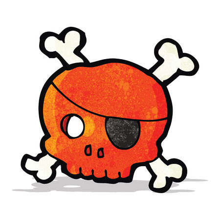 eye patch: cartoon skull with pirate eye patch Illustration