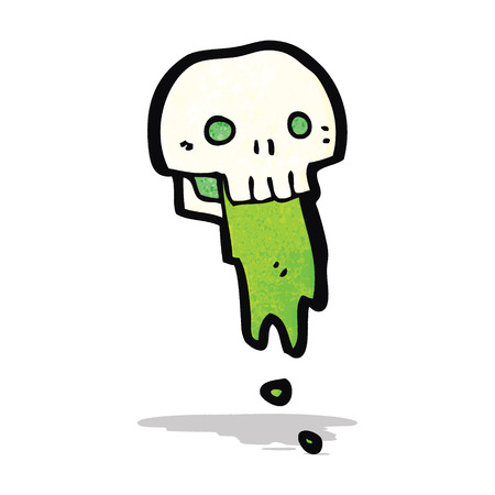 slimy: gross slimy skull cartoon Illustration