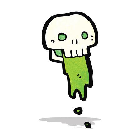 slimy: gross slimy skull cartoon Illustration