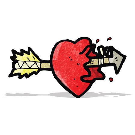 cartoon arrow struck heart Vector