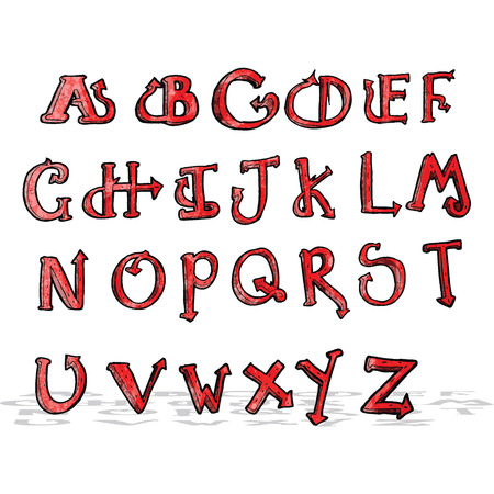 cartoon devil: cartoon devil tail alphabet Illustration