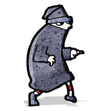 sneaking: cartoon sneaking thief Illustration