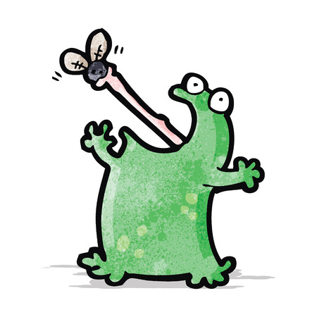 cartoon frog catching fly Vector