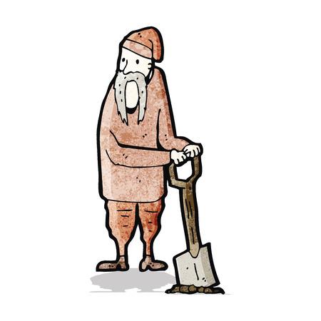 köylü: karikatür köylü kazma