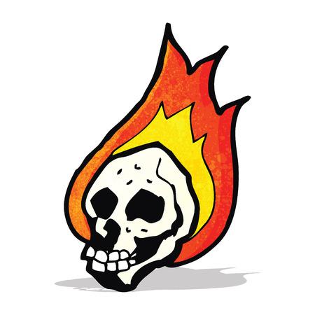 flaming: cartoon flaming skull Illustration