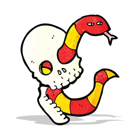 cartoon spooky skull with snake Vector